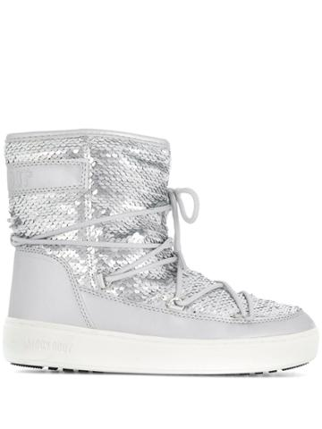 Moon Boot Drawstring Emebllished Boots - Silver
