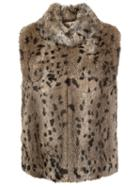 Joie Leopard Print Sleeveless Jacket
