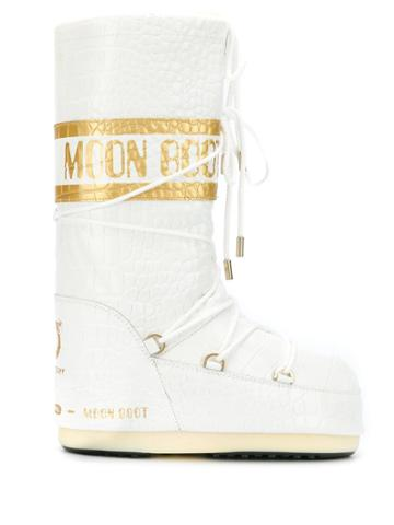 Moon Boot Crocodile-effect Snow Boots - White
