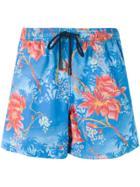 Etro Floral Print Swim Shorts - Blue