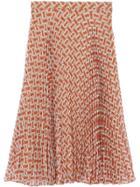 Burberry Monogram Print Chiffon Pleated Skirt - Red