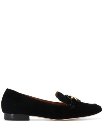 Tory Burch Logo Plaque Loafers - Black