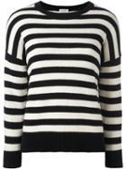 Saint Laurent Striped Knit Sweater, Women's, Size: Medium, Black, Cashmere