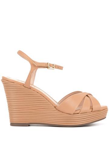 Schutz Ribbed Wedge Sandals - Neutrals