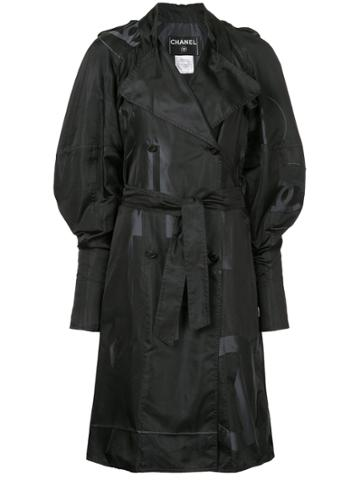 Chanel Vintage Cc Logo Double-breasted Coat - Black