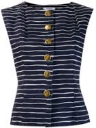 Yves Saint Laurent Pre-owned 1980's Striped Sleeveless Top - Blue