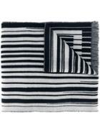 Furla Striped Scarf, Men's, Black, Wool