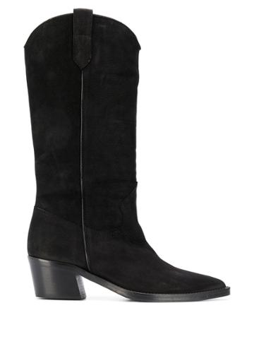 Via Roma 15 Mid-calf Western Boots - Black