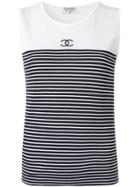 Chanel Vintage Striped Tank Top - White