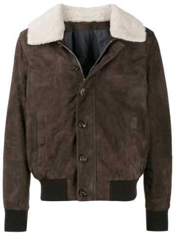 Eleventy Shearling Collar Jacket - Brown