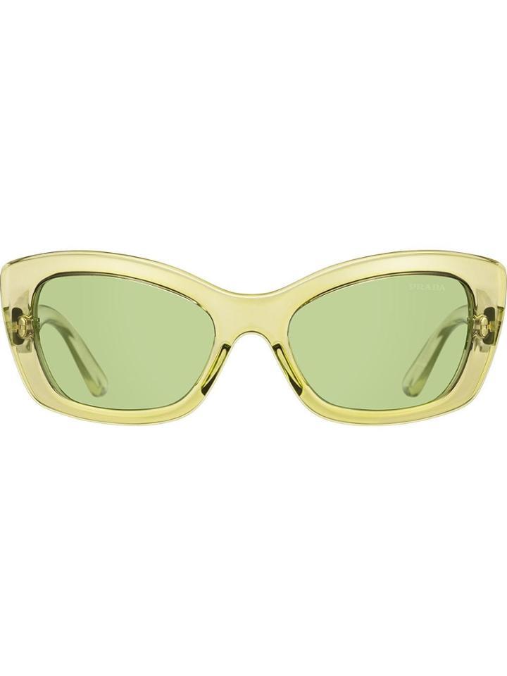 Prada Eyewear Postcard Rectangular Frame Sunglasses - Green