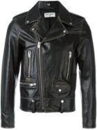 Saint Laurent Distressed Biker Jacket - Black