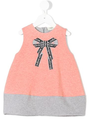 Fendi Kids - Bow Print Dress - Kids - Cotton/spandex/elastane - 12 Mth, Pink/purple