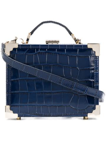 Aspinal Of London - Textured Box Shoulder Bag - Women - Calf Leather - One Size, Blue, Calf Leather
