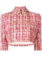 Elisabetta Franchi Cropped Tweed Jacket - Purple