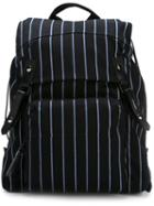 Lanvin Striped Backpack, Black, Cotton/polyester