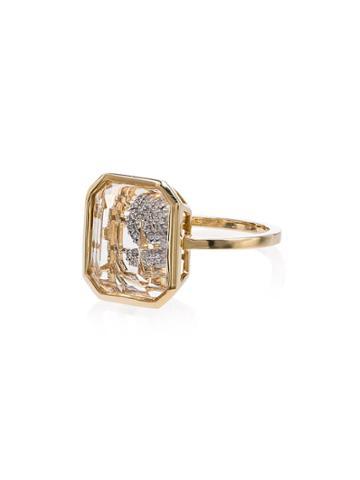 Mateo Frame Secret Diamond Initial Ring - Gold