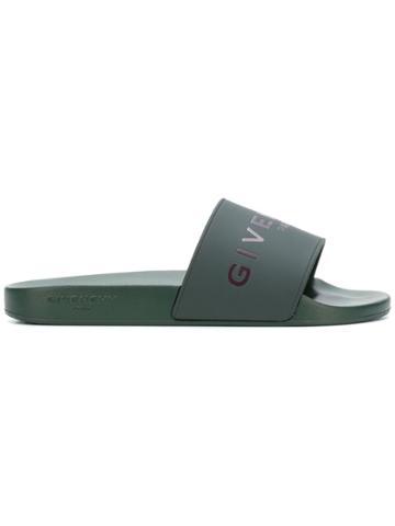 Givenchy Logo Embossed Slides - Green