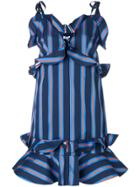 Kenzo Short Ruffled Stripe Dress - Blue