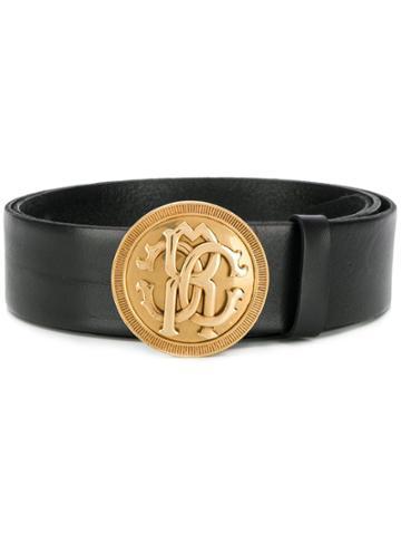 Roberto Cavalli Logo Medallion Buckle Belt - Black