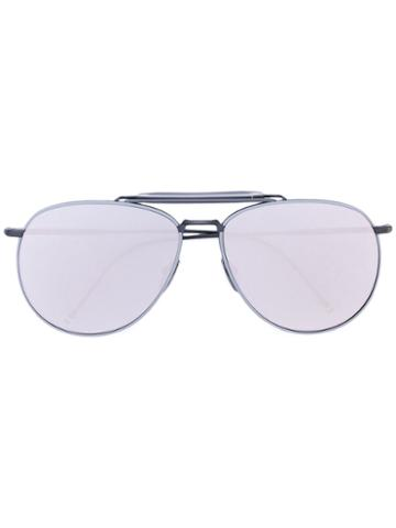 Thom Browne Eyewear - Mirror Aviator Sunglasses - Men - Metal - One Size, Grey, Metal