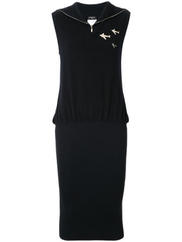 Chanel Vintage Zipped Neck Knitted Dress - Black