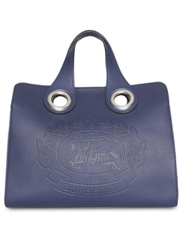 Burberry The Leather Crest Grommet Detail Tote - Blue