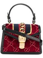 Gucci Sylvie Gg Velvet Mini Bag - Red