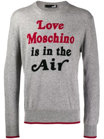 Love Moschino Quote Print Sweater - Grey