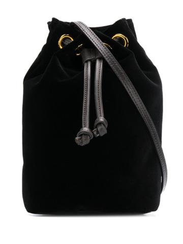 L'autre Chose Mini Bucket Bag In Velluto Nero - Black