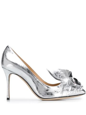 Sergio Rossi 95mm Ruched Effect Pumps - Silver