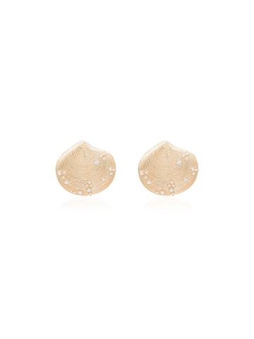 Apples & Figs Birth Of Venus Shell Stud Earrings - Gold