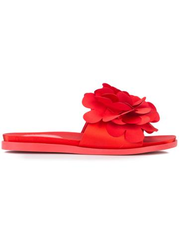 Simone Rocha Front Floral Embellished Slippers - Red