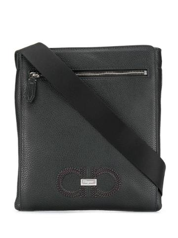 Salvatore Ferragamo Woven Gancini Messenger Bag - Black