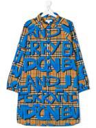Burberry Kids Teen Long-sleeve Check Dress - Blue