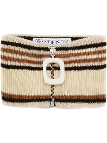 Jw Anderson Zipped Striped Neckband - Yellow