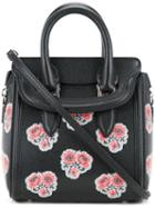 Alexander Mcqueen - Floral Mini Heroine Tote - Women - Calf Leather/brass - One Size, Black, Calf Leather/brass