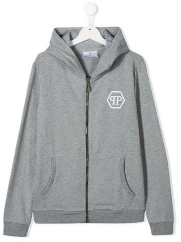 Philipp Plein Junior Teen Skull Print Zipped Hoodie - Grey