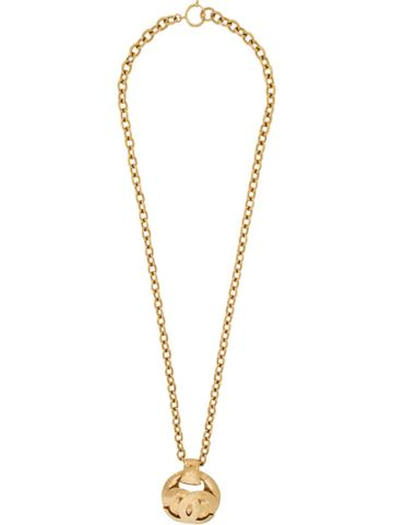 Chanel Vintage Quilted Logo Necklace - Metallic