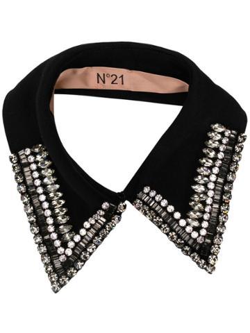 No21 Crystal Embellished Collar - Black