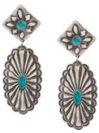 Jessie Western Etched Drop Earrings - Silver
