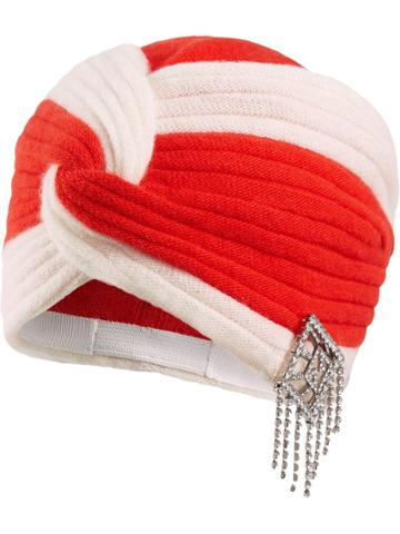 Gucci Wool Headband With Crystal Art Deco Gg - Red