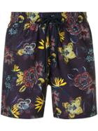 Etro Floral Print Swimming Shorts - Purple