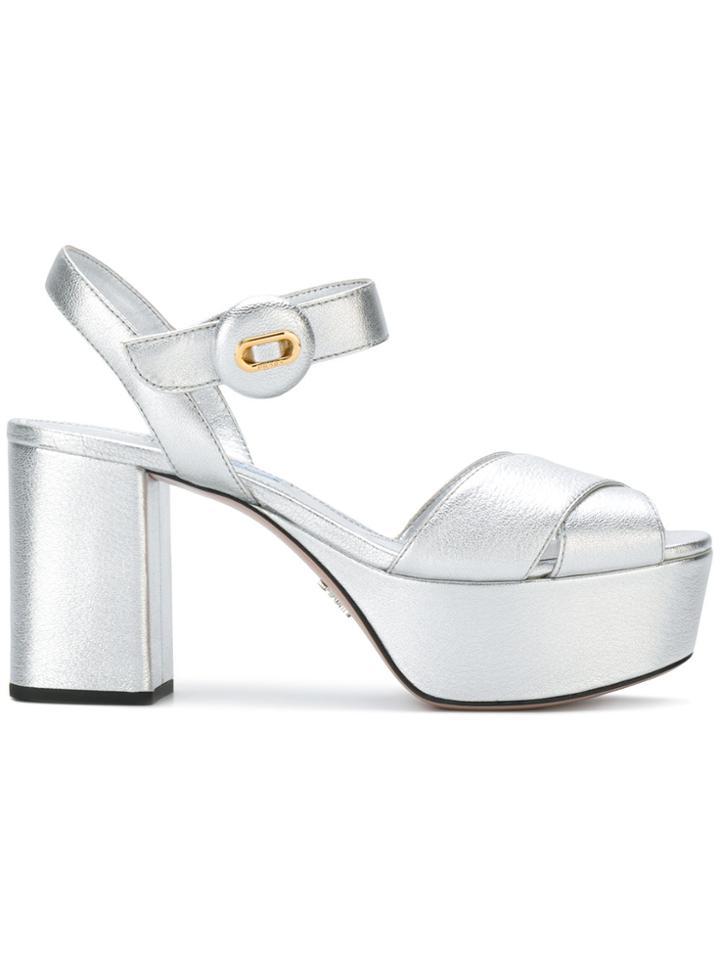 Prada Platform Sandals - Metallic