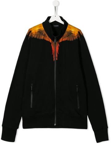 Marcelo Burlon County Of Milan Kids Teen Wings Print Jacket - Black