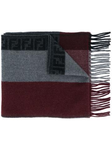 Fendi Colour Block Scarf - Red