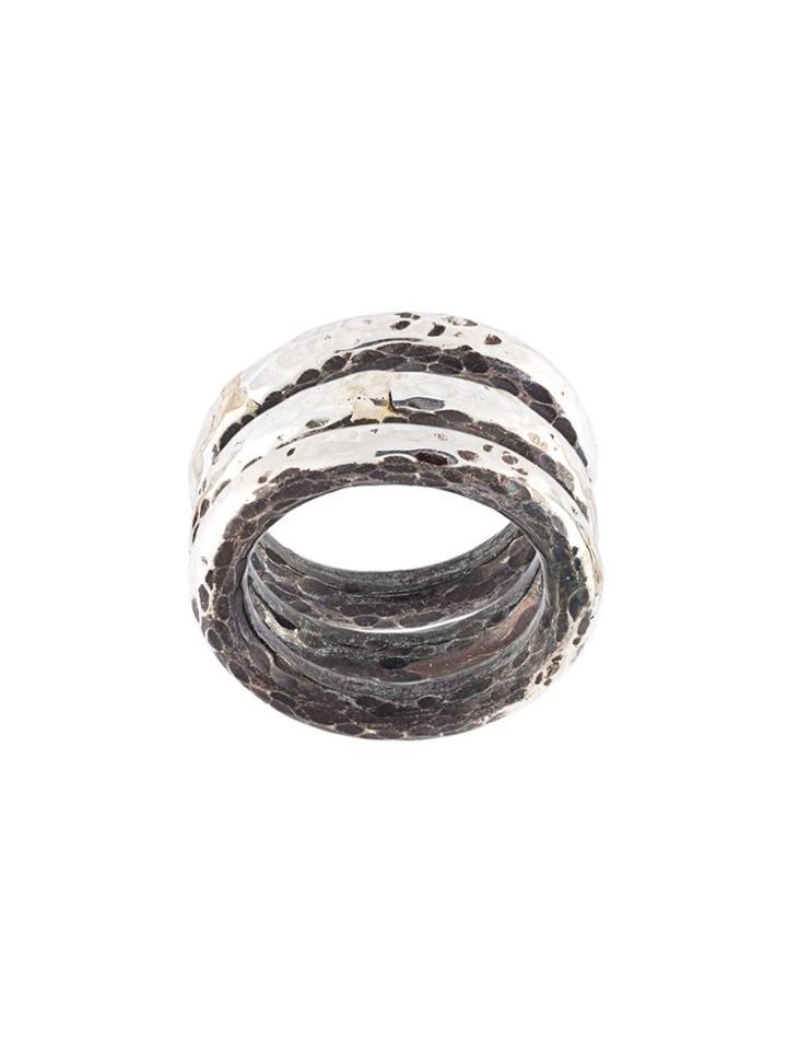 Henson Hammered Ring Set - Metallic