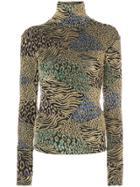 Caroline Constas Metallic Multi-print Knitted Top