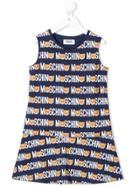 Moschino Kids Teen Teddy Logo Printed Dress - Blue