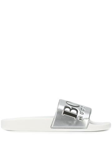 Boss Hugo Boss Logo Pool Slides - Silver